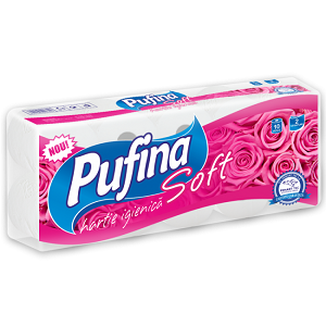 Pufina hartie igienica soft 10 role 2 straturi alb