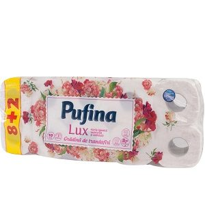 Pufina hartie igienica lux 10 role 3 strat.g trandafiri
